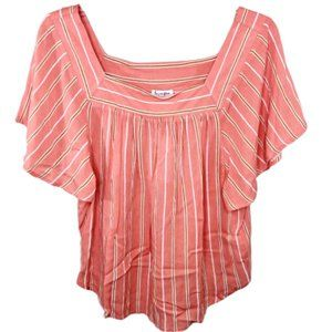 Love, Fire Coral Short Sleeve Top - S - NEW